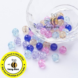 Lavender Garden Mix 100 pcs 8mm Baking Painted Crackle Glass Beads Manik DIY Jewelry Finding Craft Making Jahitan Sulaman