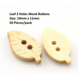 B21761: 50 pieces 19x11mm Leaf 2 Holes Wood Sewing Buttons Scrapbooking DIY Kid Craft [ B17 ]