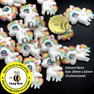 SA910: 10 pcs 29x22mm Unicorn Resin Cabochons DIY Craft Kid Scrapbook Brooch Card Making [ B12 ]