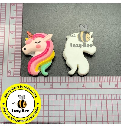 SA911: 10 pcs 29x20mm Unicorn Resin Cabochons DIY craft kid Scrapbook Brooch Card Making [ B7 ]