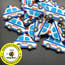SA909: 10 pcs 22x32mm Police Car Printed Resin Cabochons DIY craft kid Scrapbook Brooch Card Making [ B7 ]