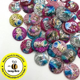 SA919: 50 pcs 20 mm Frozen Glitter Resin DIY Kid Craft Jewelry Making Hair Accessory Clip Brooch Cute Kawaii [A22]