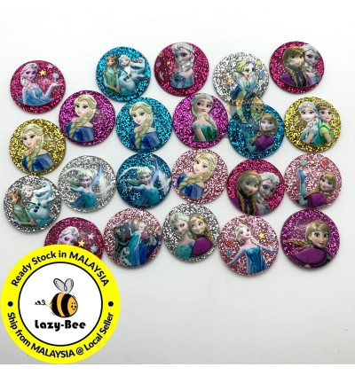 SA919: 50 pcs 20 mm Frozen Glitter Resin DIY Kid Craft Jewelry Making Hair Accessory Clip Brooch Cute Kawaii