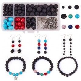 BC158: DIY Earring and Bracelet Making with Lava Beads Set Jewelry Making Tibetan Style Spacers