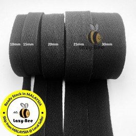 BLACK 5 meter tape herringbone cotton webbing strap for garment Twill Tape Sew Strap Tali Balut