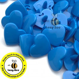 KM297: BRIGHT BLUE B8 HEART Shape 50 Sets (200 pcs) KAM GLOSSY Snap Button Plastic Fastener DIY Sewing Carft [ P4 ]