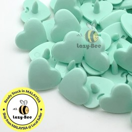 KM299: PASTEL GREEN B19 HEART Shape 50 Sets (200 pcs) KAM GLOSSY Snap Button Plastic Fastener DIY Sewing Carft [ L10 ]