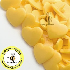 KM302: SUNSET YELLOW B10 HEART Shape 50 Sets (200 pcs) KAM GLOSSY Snap Button Plastic Fastener DIY Sewing Carft [ L19 ]