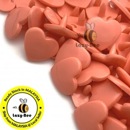 KM304: MELON ORANGE B17 HEART Shape 50 Sets (200 pcs) KAM GLOSSY Snap Button Plastic Fastener DIY Sewing Carft [ L14 ]