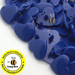 KM308: LIGHT NAVY B58 HEART Shape 50 Sets (200 pcs) KAM GLOSSY Snap Button Plastic Fastener DIY Sewing Carft [ L10 ]