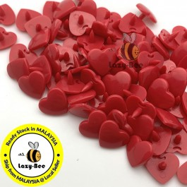 KM309: CRIMSON RED B54 HEART Shape 50 Sets (200 pcs) KAM GLOSSY Snap Button Plastic Fastener DIY Sewing Carft [ L10 ]