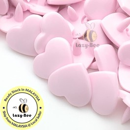 KM311: PASTEL PINK B18 HEART Shape 50 Sets (200 pcs) KAM GLOSSY Snap Button Plastic Fastener DIY Sewing Carft [ L4 ]