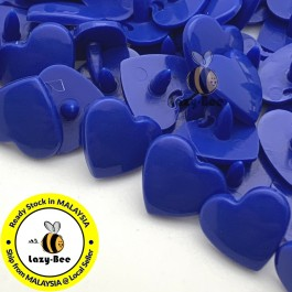 KM312: ROYAL BLUE B16 HEART Shape 50 Sets (200 pcs) KAM GLOSSY Snap Button Plastic Fastener DIY Sewing Carft [ L10 ]