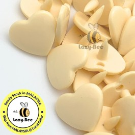 KM317: IVORY B53 HEART Shape 50 Sets (200 pcs) KAM GLOSSY Snap Button Plastic Fastener DIY Sewing Carft [ L13 ]