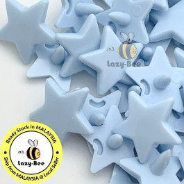KM325: PASTEL BLUE B20 STAR Shape 50 Sets (200 pcs) KAM GLOSSY Snap Button Plastic Fastener DIY Sewing Carft [ L19 ]