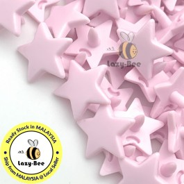 KM327: PASTEL PINK B18 STAR Shape 50 Sets (200 pcs) KAM GLOSSY Snap Button Plastic Fastener DIY Sewing Carft [ L14 ]
