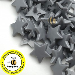 KM329: SILVER GRAY B13 STAR Shape 50 Sets (200 pcs) KAM GLOSSY Snap Button Plastic Fastener DIY Sewing Carft [ L10 ]