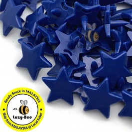 KM334: LIGHT NAVY B58 STAR Shape 50 Sets (200 pcs) KAM GLOSSY Snap Button Plastic Fastener DIY Sewing Carft [ L4 ]