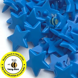 KM340: BRIGHT BLUE B8 STAR Shape 50 Sets (200 pcs) KAM GLOSSY Snap Button Plastic Fastener DIY Sewing Carft [ L2 ]