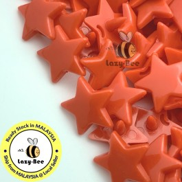 KM341: BRIGHT RED B1 STAR Shape 50 Sets (200 pcs) KAM GLOSSY Snap Button Plastic Fastener DIY Sewing Carft [ L13 ]