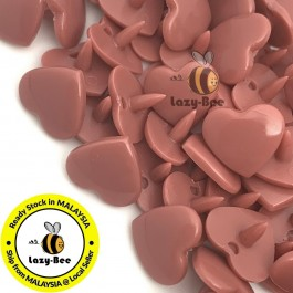 KM380: DUSTY ROSE B15 HEART Shape 50 Sets (200 pcs) KAM GLOSSY Snap Button Plastic Fastener DIY Sewing Carft [ L15 ]