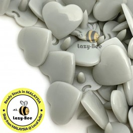 KM382: LT GRAY B24 HEART Shape 50 Sets (200 pcs) KAM GLOSSY Snap Button Plastic Fastener DIY Sewing Carft [ L15 ]