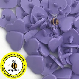 KM383: DARK LAVENDER B28 HEART Shape 50 Sets (200 pcs) KAM GLOSSY Snap Button Plastic Fastener DIY Sewing Carft [ L15 ]