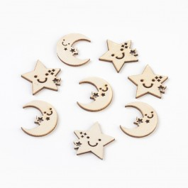 WB162: 10 pcs 25.5mm*25.5mm~27mm, Star and Moon Wood Cabochons DIY Craft Scrapbook [ B8 ]