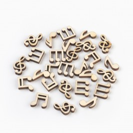 WB163: 50 pieces 12.5~19mm x 10~15mm Musical Notes Wood Cabochons DIY Craft Scrapbook [ B8 ]