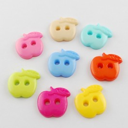 WB165: 50 pieces 11mm 18mm 21mm Apple Acrylic Plastic Cute Kawaii Button DIY Sewing Craft Kid Craft