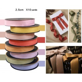 RB448: 10 Yards 25mm Double-Sided Deer Velvet Ribbon DIY Hair Bow Florist Gift Box