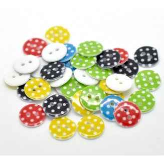 B16003: 50 pieces 15mm Round Mixed Dot Pattern Resin Sewing Buttons Scrapbooking DIY Sewing Face mask extension [B15]