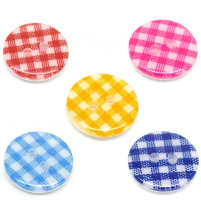 B19098: 50 pieces 15mm Round Mixed Lattice Pattern Resin Sewing Buttons Scrapbooking DIY Sewing Craft Face mask extension [B11]