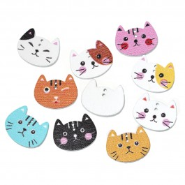 B56979: 100 pieces 20x16mm Cat At Random Wood Sewing Button DIY Sewing Craft Mask Extension Scrapbook [C4]