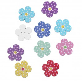 B64739: 100 pcs 20mm Flower At Random Dot Pattern Wood Sewing Buttons DIY Sewing Craft Kid Scrapbook [B17]