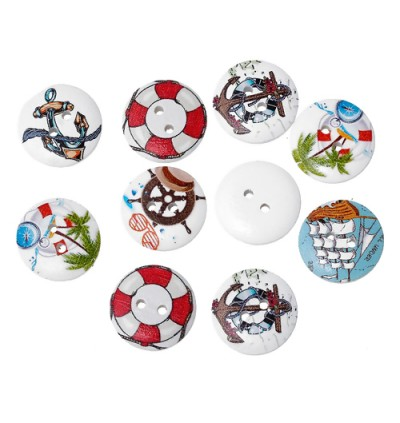 WB228: 50 pcs 20mm Anchor & Helm Pattern Printed Round Wooden Buttons DIY Sewing Craft [B12]