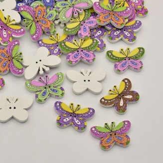 WB209: 50 pieces 17x25mm Butterfly Printed Wooden Buttons DIY Sewing Craft [B13]