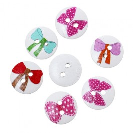 WB201: 50 pieces 15mm Bowknot Pattern Printed Wooden Buttons DIY Sewing Craft [A11]
