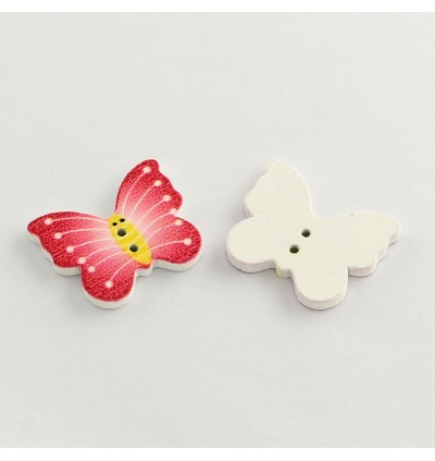WB230: 50 pieces 21x25mm Butterfly Wood Button DIY Sewing Craft [B2]