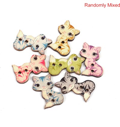 B0094720: 50 pieces 27x20mm Cat Animal Wood Sewing Buttons Scrapbooking DIY Sewing Craft [C4]