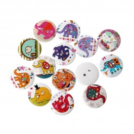 B45316: 50 pieces 20mm Elephant Pattern Wood Sewing Scrapbooking Button Round Mixed Two Holes