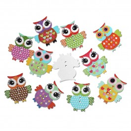 B56989: 100 pieces 25x24mm Halloween Owl Wood Sewing Buttons Scrapbooking DIY Sewing Craft [B12]
