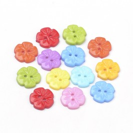 WB198: 100 pieces 15mm Flower Resin Button Random Mixed Colour DIY Sewing Craft Kids Scrapbook mask Extender