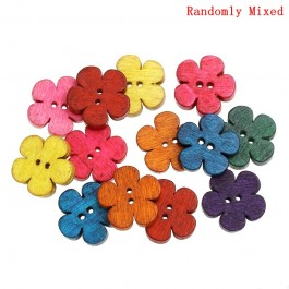 B32766: 100 pieces 19x18mm Wood Sewing Button Scrapbooking Flower DIY Sewing Craft Butang Jahitan [C3]