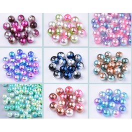 25 grams 6mm about 270pcs / 8mm about 100 pcs Rainbow ABS Plastic Pearl Beads Gradient Mermaid DIY Jewelry Accessory Manik Jahit