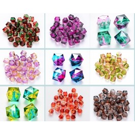 100 pcs 8mm Polygon Two Tone Transparent Spray Painted Crackle Acrylic Beads DIY Jewelry Accesorry Manik Jahit