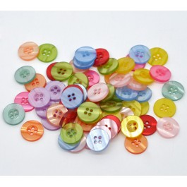 B11500: 100 pieces 15mm Resin Sewing Buttons Scrapbooking DIY Sew Craft Mask Extenstion [B11]