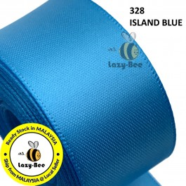 S328 ISLAND BLUE 5 meter Double Faced Satin Ribbon Wedding DIY Craft Bow knot Perkahwinan Borong Balut Reben