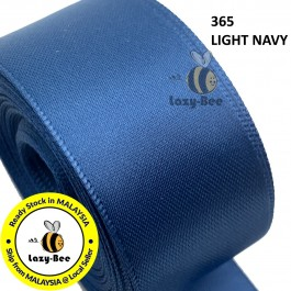 S365 LT NAVY 5 meter Double Faced Satin Ribbon Wedding DIY Craft Bow knot Perkahwinan Borong Balut Reben