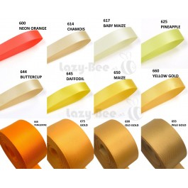 YELLOW Tone 5 Meter 13mm 16mm 19mm Premium Quality Double Faced Satin Ribbon DIY Craft Wedding Bow Gift Wrap Reben